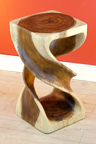Suar Solid Wood Side Table DOUBLE TWIST
