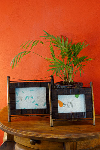Teak Picture Frame with Bamboo