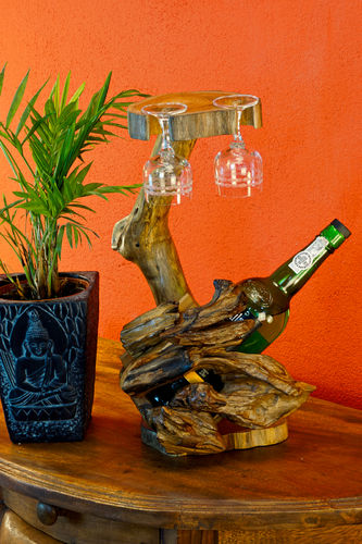 Teak Wood Bottle Holder Large