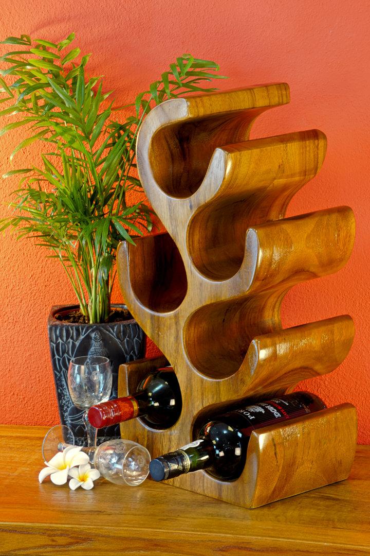 Holz Weinregal Baum Akazie Dunkel Flaschenstander Kinaree