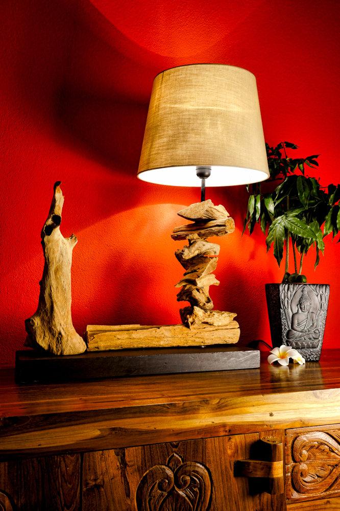Treibholz Tischlampe Chai Holz Lampe Leuchte Kinareede
