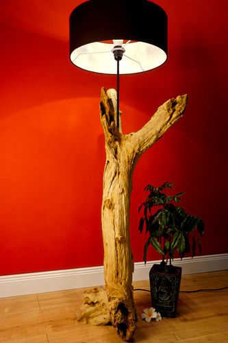 holz lampen holz stehlampe baumstamm lampe kinaree. Black Bedroom Furniture Sets. Home Design Ideas