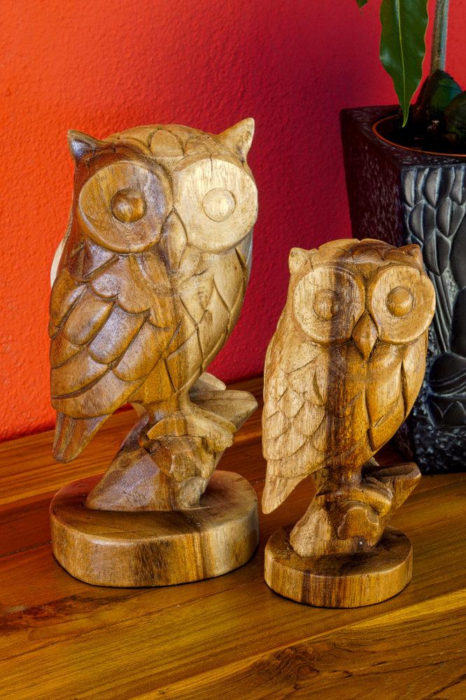 Geschnitzte Eule Holz Figur Geschnitzt Kinareede