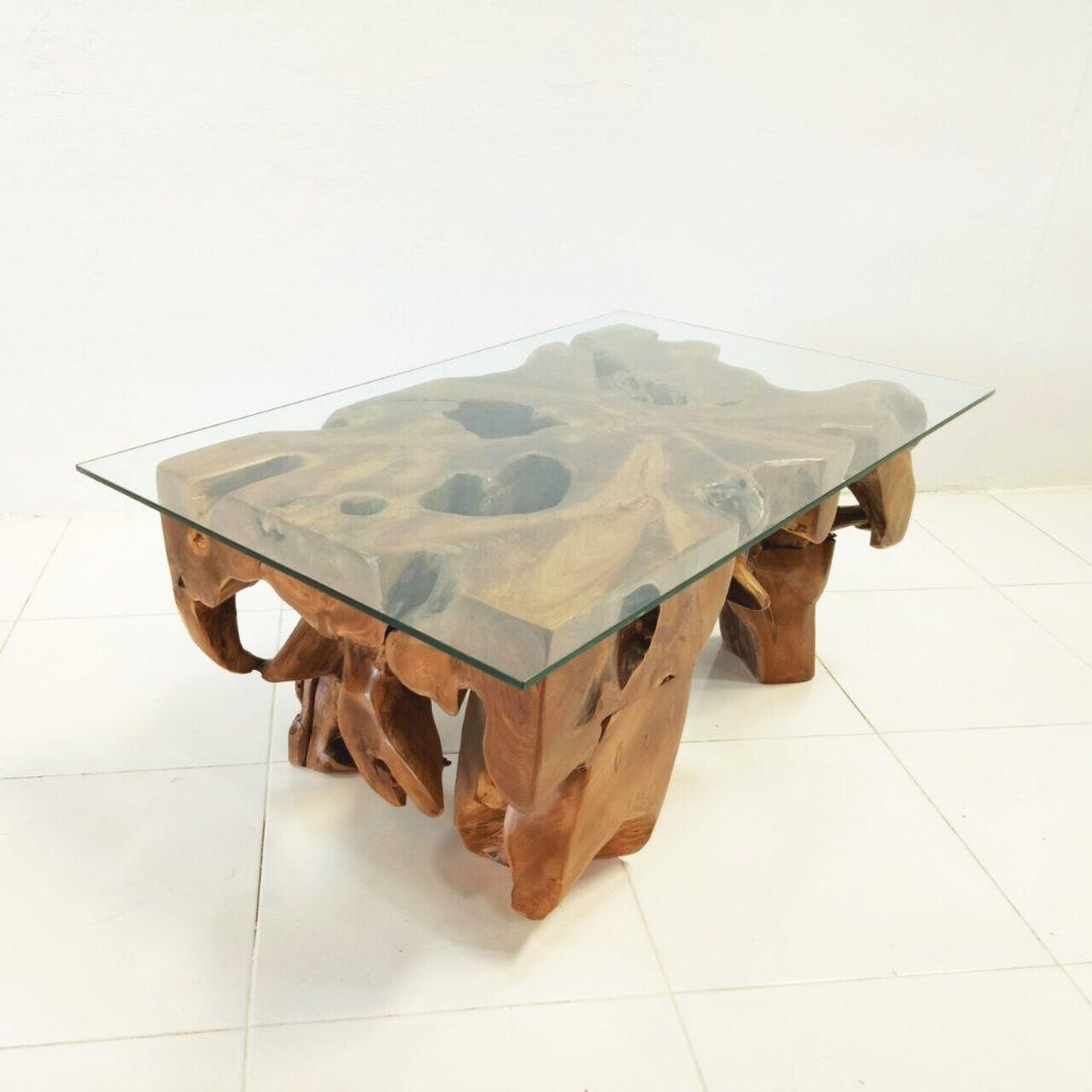 wurzelholz m bel couchtisch cohat massivholz mit glas kinaree. Black Bedroom Furniture Sets. Home Design Ideas