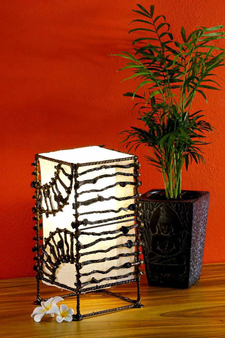 Détails sur Lampe Bois Rustique Bois Luminaire Lampe de Chevet Bali Noix de Coco Toile