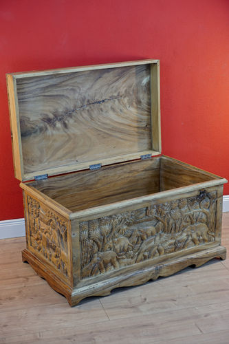 Solid Wood Chest with Carving