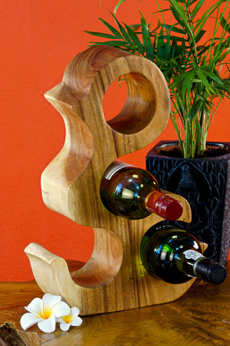 37 cm Wooden Wine Rack natural