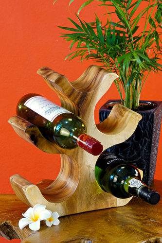 40cm wooden wine rack natural