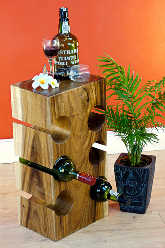 Wooden Wine Rack and Side Table