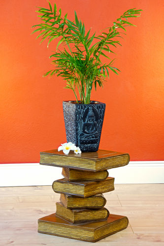 Wooden Side Table Stack of Books mini
