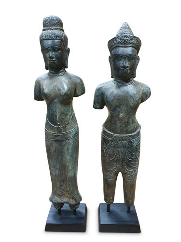 Bronze Statue pair Khmer Queen and King