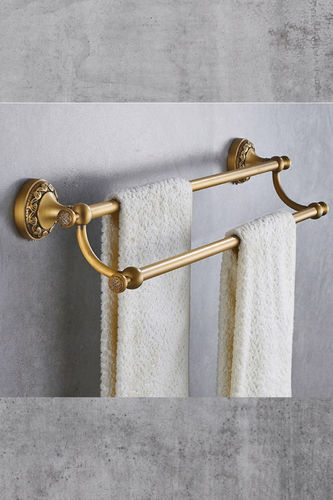 Brass double Towel Holder Antique Look