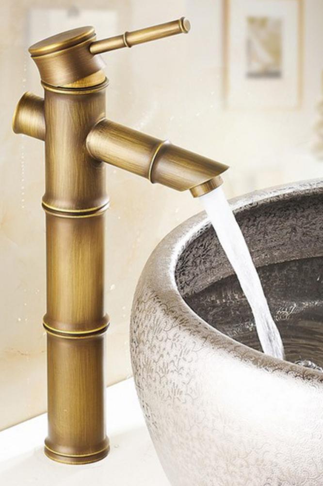Schwarz Vintage Bambus Waschbecken Wasserhahn Waschtischarmatur Bambusfestival