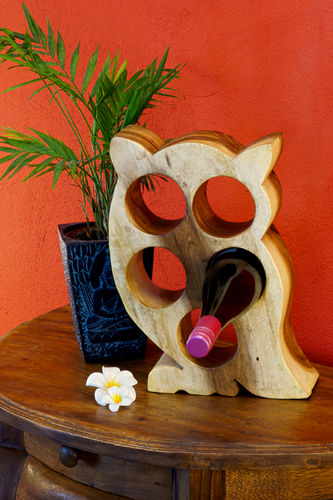 Wooden Wine Rack Owl