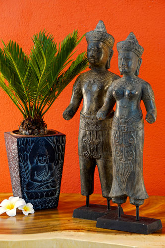 Bronze Statue Pair King and Queen of Cambodia