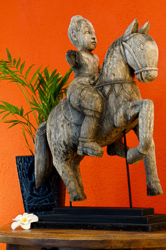 Antique Teak Statue Horseman