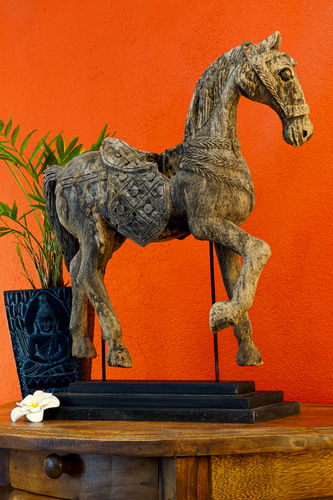 Antique Teak Wood Statue Horse