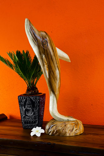 Carved suar wood dolphin