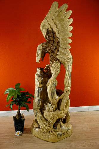 Suar solid wood eagle and tiger statue
