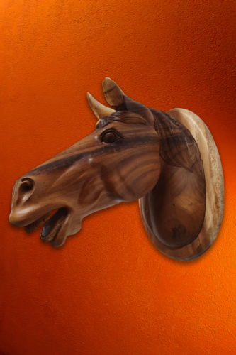 Wood wall trophy horse